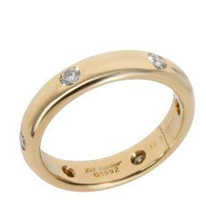Cartier Stella Diamond 18K Yellow Gold Band Ring Size EU 50