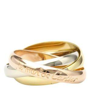 Cartier Yellow Gold, Rose Gold, White Gold Trinity Ring Size 52