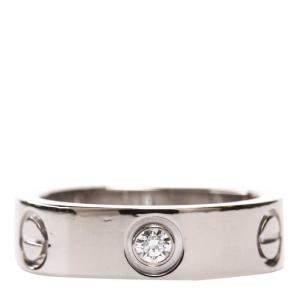 Cartier White Gold Diamond Love Ring Size 52