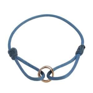 Cartier Trinity 18K Three Tone Gold Adjustable Blue Cord Bracelet