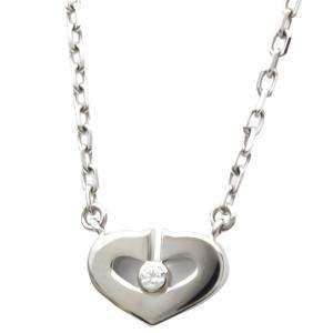 Cartier Heart C 18K White Gold Diamond Necklace