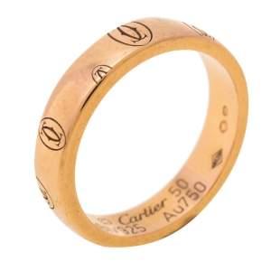 خاتم زفاف كارتييه دو كارتييه حلقة ذهب وردي عيار 18 قيراط بشعار الماركة مقاس 50