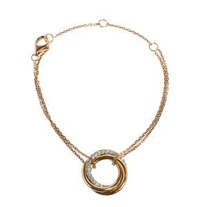 Cartier Trinity Diamonds 18K Three Tone Gold Bracelet