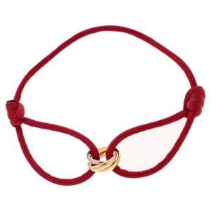Cartier Trinity de Cartier 18K Three Tone Gold Adjustable Red Cord Bracelet