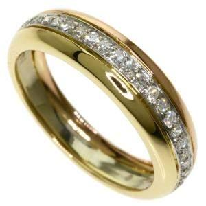 Cartier Trinity 18K Yellow, Rose, White Gold Diamond Ring Size EU 53