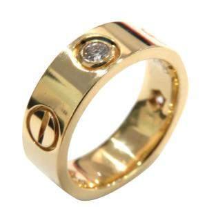Cartier Love 18K Yellow Gold Diamond Ring Size EU 48
