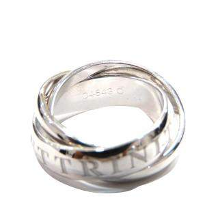 Cartier Vintage Or Amour Et Trinity 98 Xmas Limited 18K White Gold Ring EU 50
