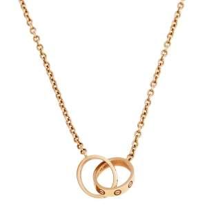 Cartier Love Interlocking 2 Hoops 18K Rose Gold Necklace