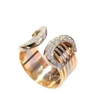 Cartier Double C 18K Yellow Gold Rose Gold White Gold Diamond Ring EU 51