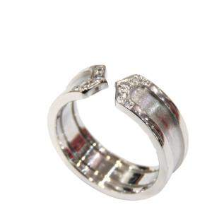 Cartier Double C 18K White Gold Diamond Ring EU 50