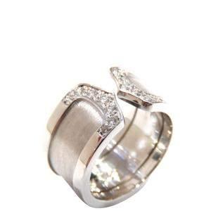 Cartier Double C 18K White Gold Diamond Ring EU 51