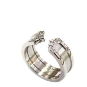 Cartier Double C Wedding 18K White Gold Diamond Ring EU 54