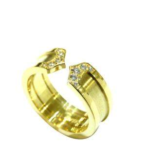 Cartier Double C de 18K Yellow Gold Diamond Ring EU 48