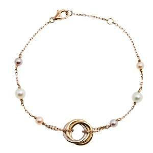 Cartier Trinity de Cartier Cultured Pearl 18K Three Tone Gold Station Bracelet