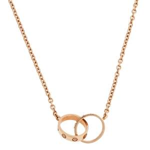 Cartier Love Interlocking Loop 18K Rose Gold Pendant Necklace