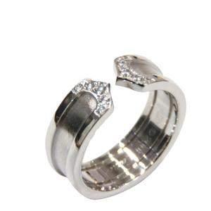 Cartier Double C De 18K White Gold Diamond Ring EU 50