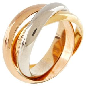 Cartier Trinity 18K Three Tone Gold Rolling Band Ring - 56
