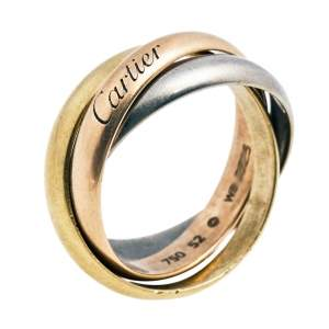 Cartier Trinity Classic 18K Three Tone Gold Rolling Ring 52