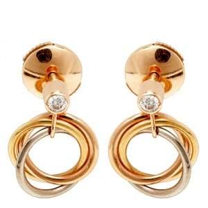 Cartier Trinity Diamond 18K Three Tone Gold Earrings