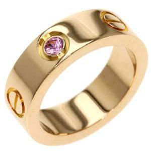 Cartier Love 18K Rose Gold Sapphire Ring EU 48