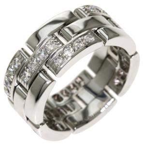 Cartier Maillon Panthere 18K White Gold Diamond Ring EU 50.5