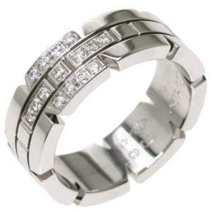 Cartier Tank Francaise 18K White Gold Diamond Ring EU 49