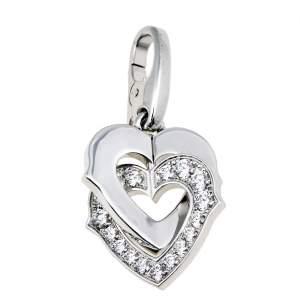 Cartier Double Heart Diamond 18K White Gold Charm