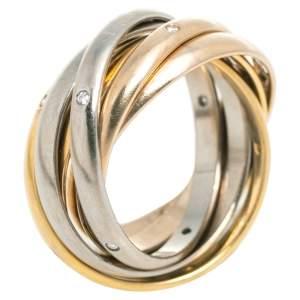 Cartier Trinity Diamond 6 Loop 18K Three Tone Gold Rolling Ring Size 54