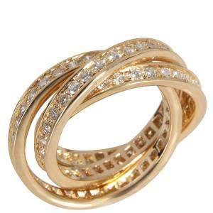 Cartier Trinity 18K Yellow Gold Diamond Ring EU 53
