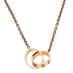 Cartier Love Interlocking 2 Loop 18K Rose Gold Pendant Necklace