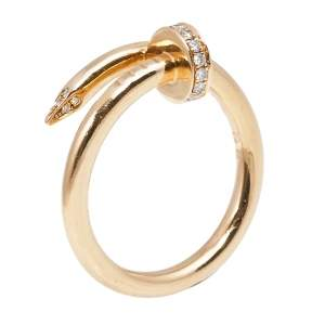 Cartier Juste un Clou Diamond 18K Rose Gold Ring Size 58