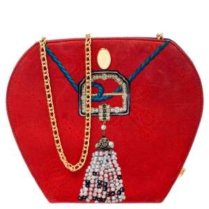Cartier Red Printed Fabric Chain Clutch Bag