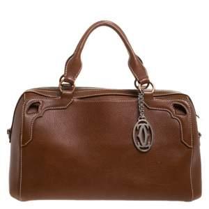 Cartier Brown Leather Marcello de Cartier Bowler Bag