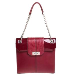 Cartier Red Leather/Patent Leather and Python Classic Feminine Line Chain Bag