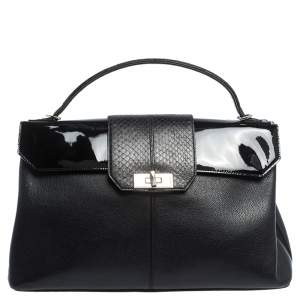 Cartier Black Leather and Python Classic Feminine Line Top Handle Bag