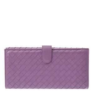 Bottega Veneta Purple Intrecciato Leather Long Wallet