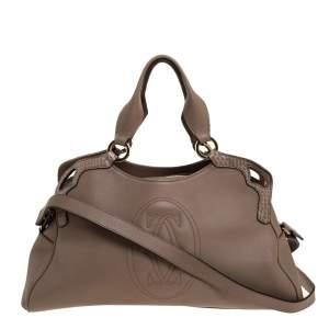 Cartier Beige Leather and Python Marcello de Cartier Shoulder Bag