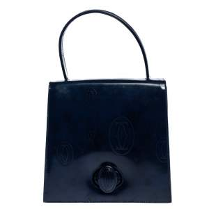 Cartier Navy Blue Patent Leather Happy Birthday Bag