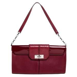 Cartier Red Leather and Python Classic Feminine Line Shoulder Bag