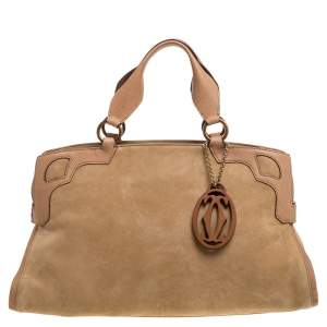 Cartier Beige Nubuck Leather and Lizard Medium Marcello de Cartier Bag