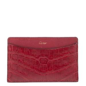 Cartier Red Crocodile Must De Cartier Card Holder