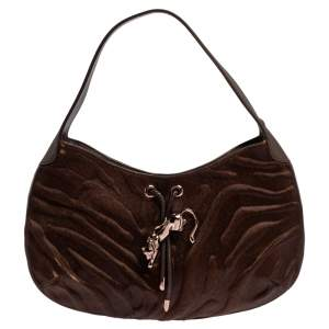 Cartier Brown Calfhair and Leather Small Panthere de Cartier Bag