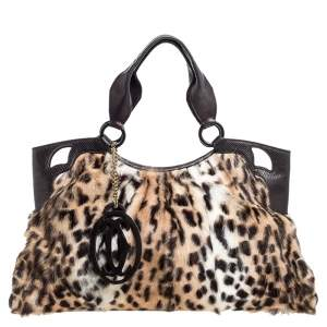 Cartier Brown Leopard Print Mink Fur and Leather Medium Marcello de Cartier Bag