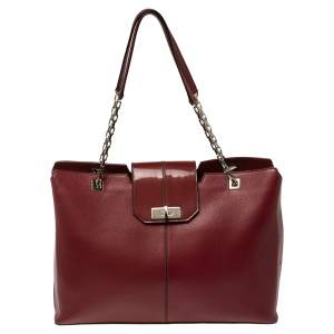 Cartier Red Leather Chain Tote