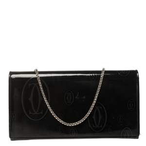 Cartier Dark Grey Patent Leather Happy Birthday Wallet On Chain