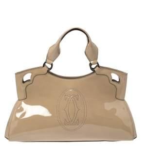 Cartier Beige Patent Leather Large Marcello de Cartier Bag