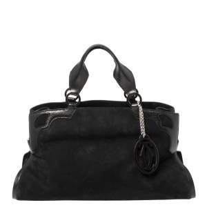 Cartier Black Nubuck Leather and Lizard Embossed Marcello De Cartier Bag