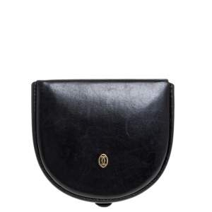 Cartier Black Leather Horseshoe Type Coin Purse