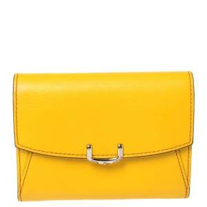Cartier Yellow Leather Small C de Cartier Compact Wallet