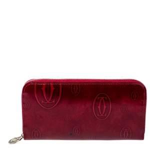 Cartier Red Leather Happy Birthday Zip Around Wallet